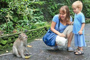 Kleinkind im Affenwald Bali
